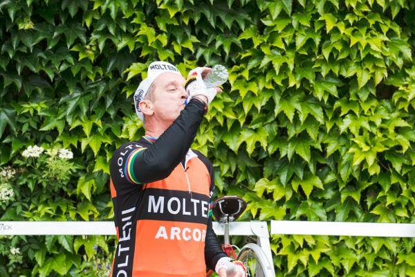 Cyclist drinking Buxton Water to stay hydrated